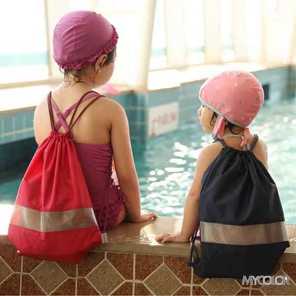 ?MY COLOR?防水透視抽繩背帶 親子 後背包 游泳 沙灘 旅行 束口袋 海邊 戶外 運動 收納 (小) 【J54】