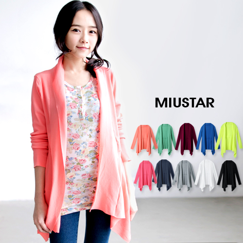 MIUSTAR 優質MIT※不規則領邊垂墜薄針織外套(共10色)0308預購【NTA014RR】