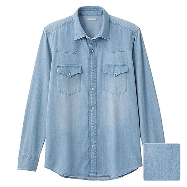 【EST O】Uniqlo × G.U. [267560] 長袖 單寧 牛仔襯衫 天藍 G0105