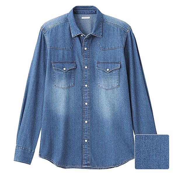 【EST O】Uniqlo × G.U. [267560] 長袖 單寧 牛仔襯衫 水藍 G0105