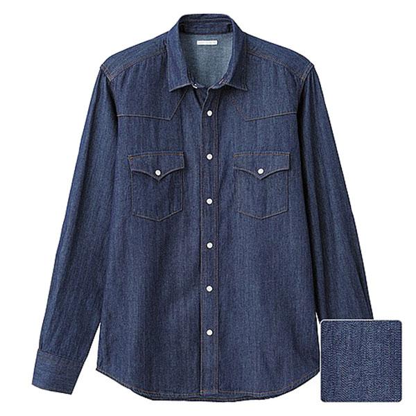 【EST O】Uniqlo × G.U. [267560] 長袖 單寧 牛仔襯衫 深藍 G0105