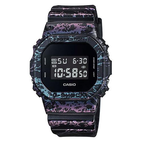 【EST O】G-Shock 限量 大理石 爆裂紋 手錶 [DW-5600PM-1JF] 黑紫 F0327