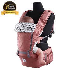 【淘氣寶寶】韓國 Pognae No.5超輕量機能坐墊型背巾-紐約紅【贈純植物精油防蚊液 60ml】