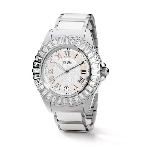 Folli Follie 耀眼奪目時尚晶鑽陶瓷錶/白/WF7A019BDW