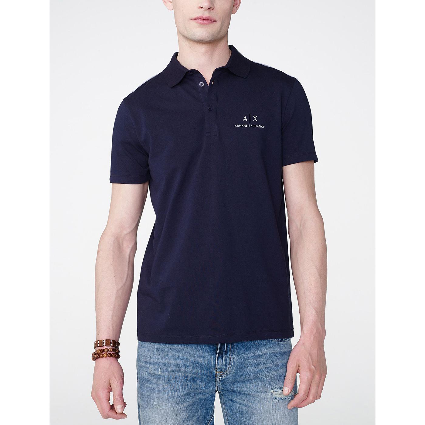 美國百分百【Armani Exchange】polo衫 AX 短袖 上衣 素面 logo 非網眼 深藍 H051