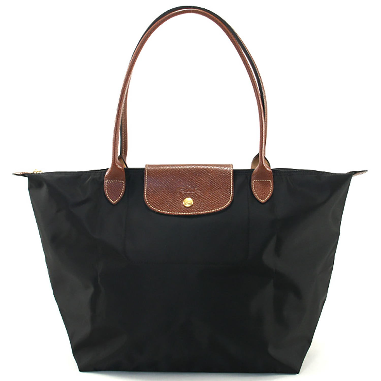 [1899-M號] 國外Outlet代購正品 法國巴黎 Longchamp 長柄 購物袋防水尼龍手提肩背水餃包黑色