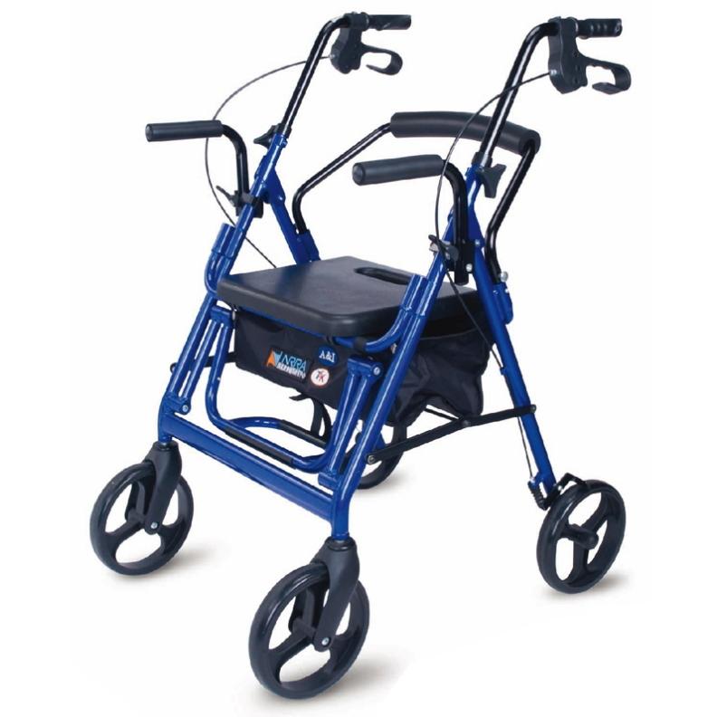 兩用四輪助行車(簡易可推輪椅+助行車)AL-218S-14,必翔銀髮機械式助行器 (未滅菌)