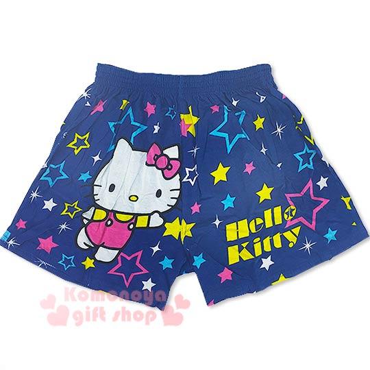 〔小禮堂〕Hello Kitty 家居平口褲《深藍.張開雙手.星星滿版.M-XL》