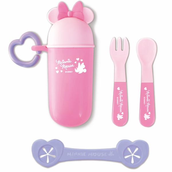 ★衛立兒生活館★日本 迪士尼 Disney 米妮攜帶餐具組+餐巾夾 附收納盒~粉色