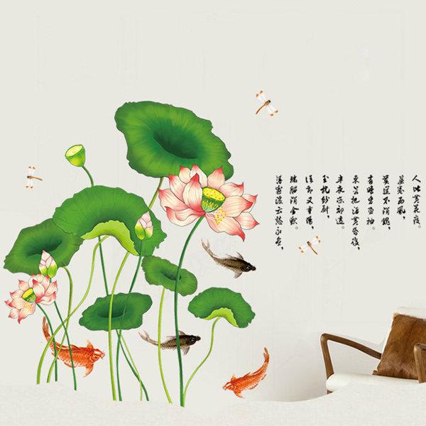 BO雜貨【YV0590】DIY可重複貼 時尚壁貼 牆貼壁紙 壁貼紙 創意璧貼 蓮花 魚 AM9120