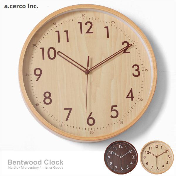 E&J【019003】a.cerco 靜音機芯 BENTWOOD 木紋 簡約風掛鐘 時鐘/鬧鐘/loft風/設計/台灣製