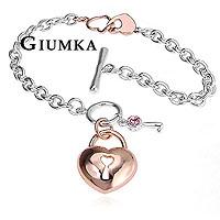 【GIUMKA】情鎖真心 淑女款手鍊 精鍍正白K 玫瑰金 鋯石/單個價格 MB00010