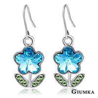 【GIUMKA】河畔小花水晶耳勾式耳環 精鍍正白K 甜美淑女款 (藍色) 一對價格 MF00598-3