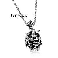 【GIUMKA】武士骷髏頭項鍊 316L鋼項鍊 街頭嘻哈風 單個價格/附白鋼鍊