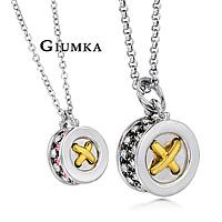 【GIUMKA】時尚車輪II項鍊 男女情人對鍊 精鍍正白K鋯石 單個價格/附白鋼鍊