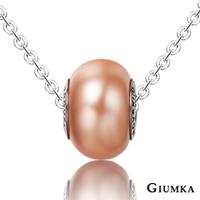 【GIUMKA】繽紛世界德國精鋼水晶元素項鍊 採用施華洛世奇水晶元素 水晶烤漆 滾輪造型設計 珊瑚粉/單個價格 MN01609-3