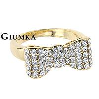 開運金色【GIUMKA】公主蝴蝶結鑽石戒指 精鍍正白K 晶鑽鋯石 金色款/單個價格