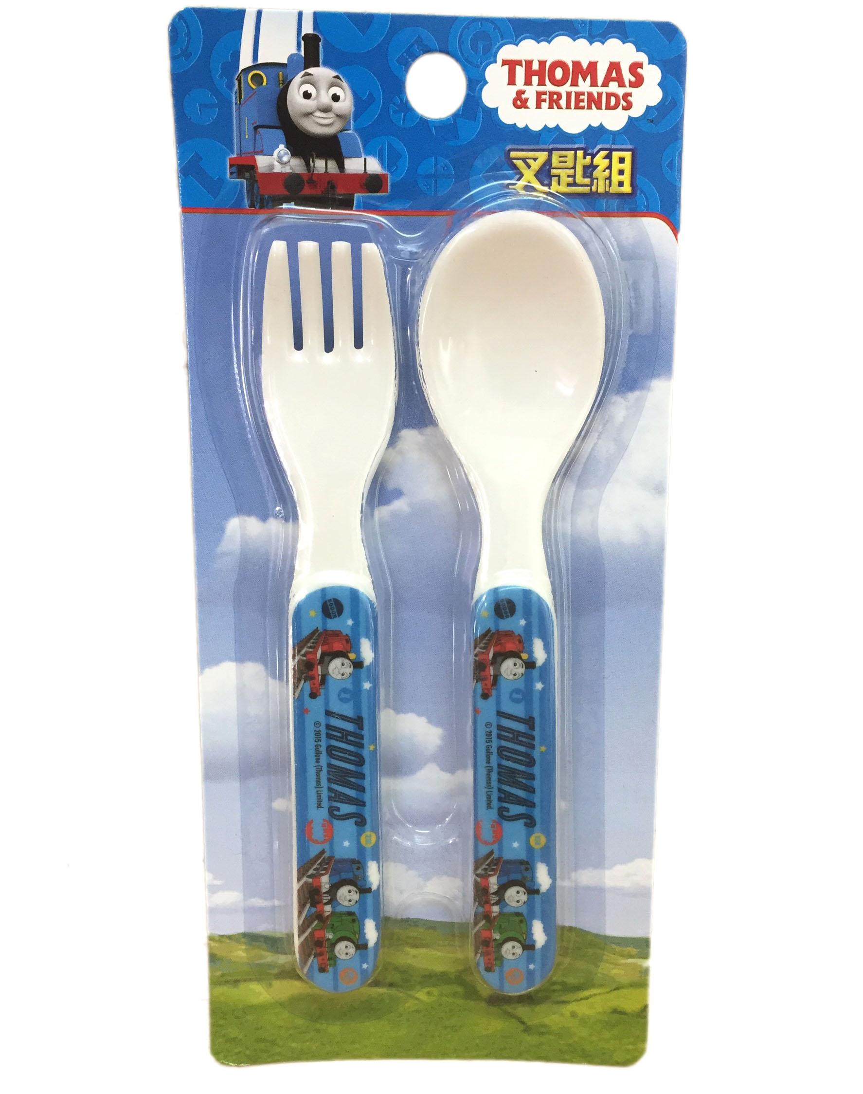 【真愛日本】16072700022叉匙組-湯瑪士藍  THOMAS & FRIENDS 湯瑪士 小火車 叉子 筷子 餐具 嬰幼兒