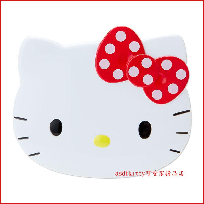 asdfkitty可愛家☆KITTY臉型印章盒-含印泥跟清潔綿-同時可放二支印章-日本正版商品