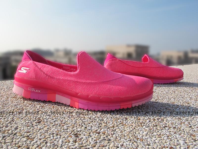 Shoestw【14010HPK】SKECHERS 健走鞋 GO FLEX 全新凹折底 桃紅 編織 瑜珈鞋墊
