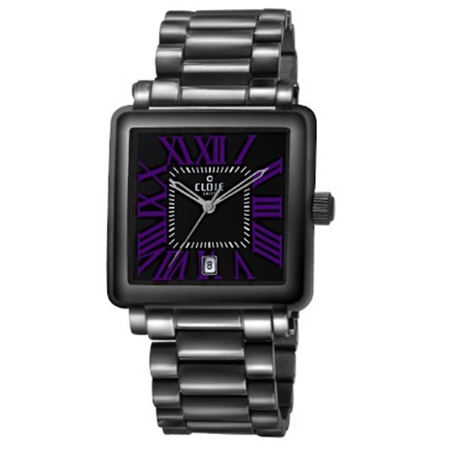 CLOIE 羅馬之愛時尚腕錶-黑x紫時標/29mm CL10345-UB21