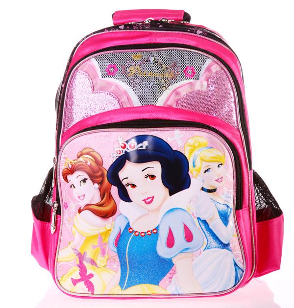 正版Disney 迪士尼公主系列 小學生書包 健康護脊後背包D0142-黑邊桃紅色款/單售