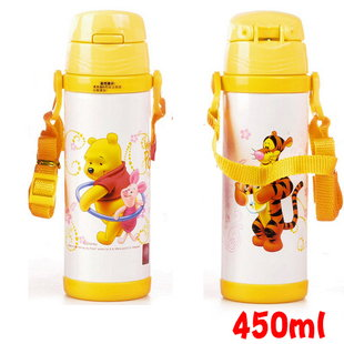 Disney 迪士尼 不鏽鋼水壺/軟管兒童水壺450ML(小熊維尼款5673)單售