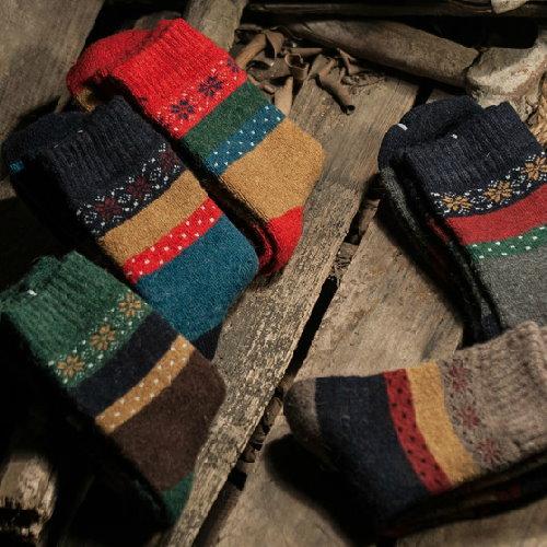 日韓系 秋冬加厚民族風女長襪毛圈底拼色女羊毛襪