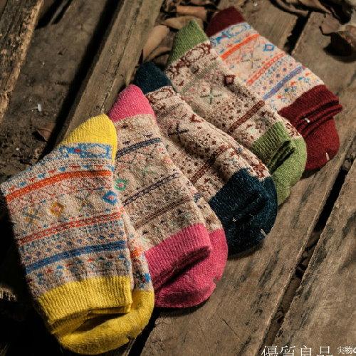 日韓系 秋冬復古民族風女羊毛襪波西米亞女長襪子