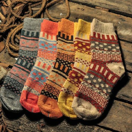 日韓系 秋冬復古小直條女羊毛襪民族風羊毛女長襪