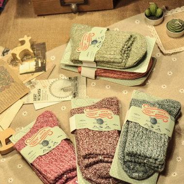 日韓系 秋冬民族風純色羊毛襪 復古紮染女長襪