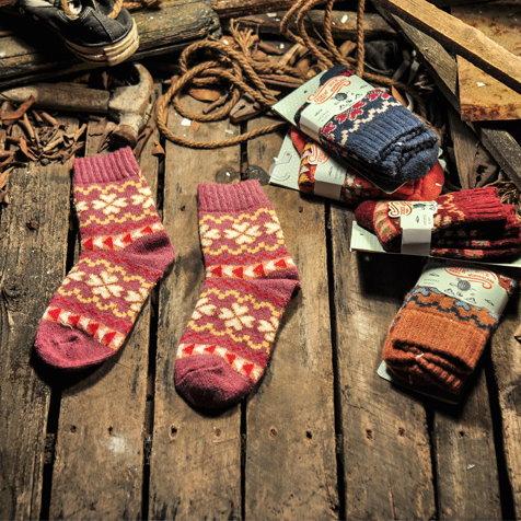 日韓系 秋冬復古民族風羊毛襪日系彩花加厚女長襪