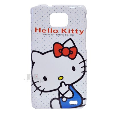 < 唯愛日本>S2保護硬殼-側坐吮指 三麗鷗 Hello Kitty 凱蒂貓 手機套 防塵套 正品