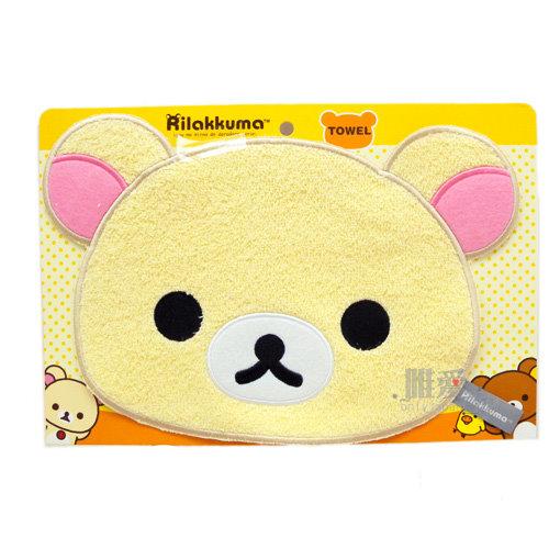 ~*唯愛日本*~B 12011400070 頭型電繡小毛巾-奶熊SAN-X 懶懶熊 拉拉熊 手帕也可當杯墊 正版