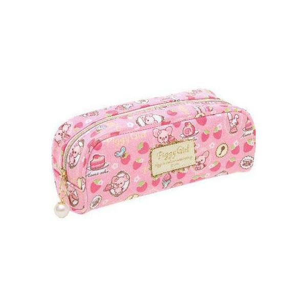 【唯愛日本】12112300022 筆袋-粉紅豬草莓桃紅 SAN-X 懶熊 懶妹 奶妹 奶熊 鉛筆盒 收納包
