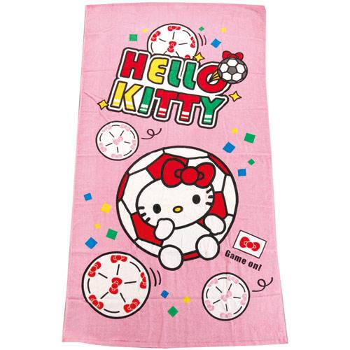 【真愛日本】14062500052 特大印花浴巾-世足賽 三麗鷗 Hello Kitty 凱蒂貓 大毛巾浴室用品