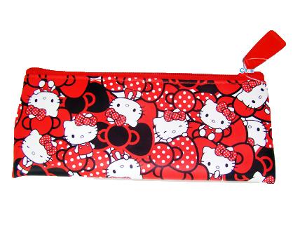 【唯愛日本】14091200005 皮革小筆袋-多結紅 三麗鷗 Hello Kitty 凱蒂貓 鉛筆袋