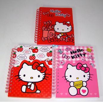 【唯愛日本】14102100006 造型夾袋線圈筆記本-3款 三麗鷗 Hello Kitty 凱蒂貓 文具 記事本
