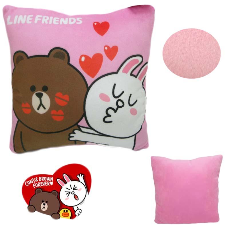 【唯愛日本】15013000019 綿柔方枕--熊大兔兔親親粉 LINE公仔 饅頭人兔子熊大 枕頭 靠枕 午安枕 正品