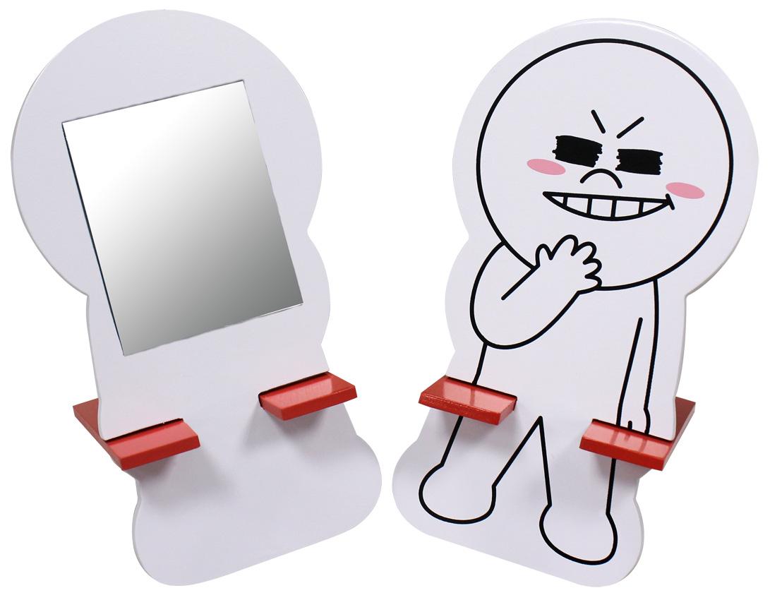 【唯愛日本】15021400002 木製小化妝鏡-饅頭人 LINE公仔 饅頭人兔子熊大 隨身鏡 正品