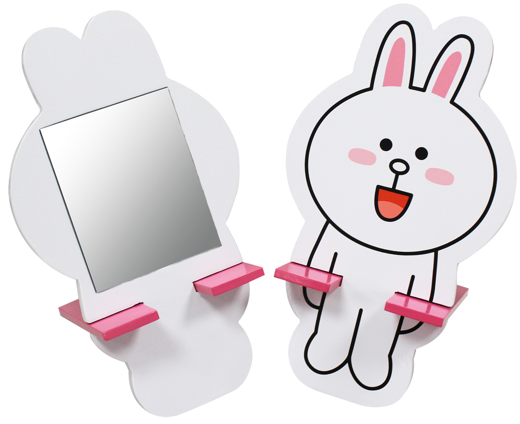 【唯愛日本】15021400004 木製小化妝鏡-兔兔 LINE公仔 饅頭人兔子熊大 隨身鏡 正品