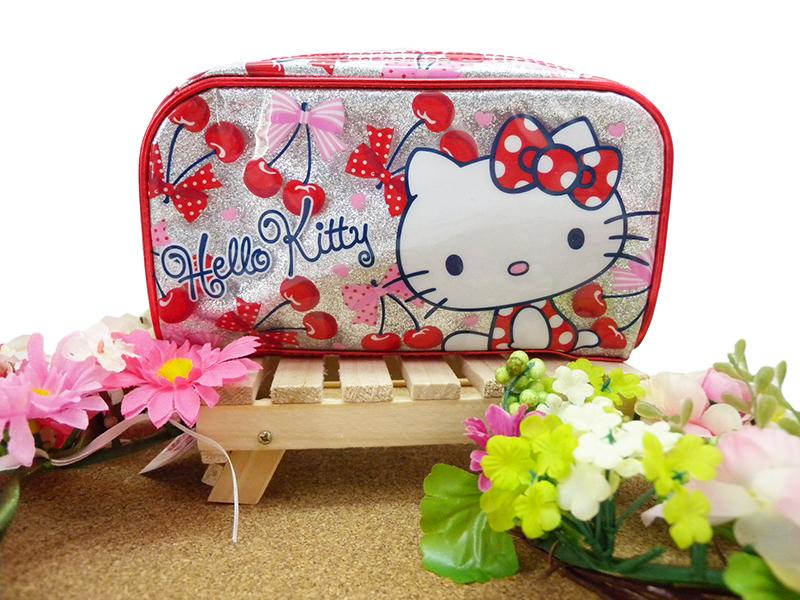 【真愛日本】15022600028亮膠大方寬化妝包-櫻桃紅 三麗鷗家族 Melody 美樂蒂 收納包 正品 限量