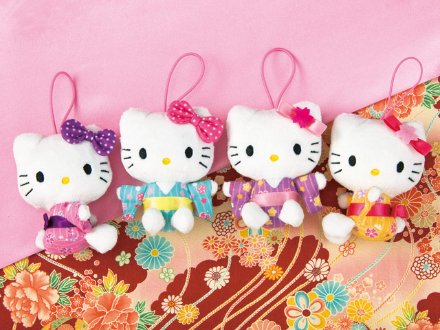 【真愛日本】15031800020 和風和服吊飾娃-粉櫻花黃 三麗鷗 Hello Kitty 凱蒂貓 娃娃 玩偶 景品 正品 限量