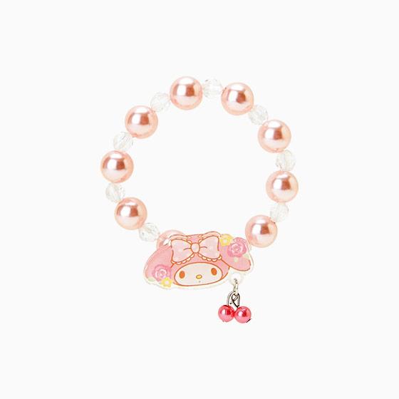 【真愛日本】15042900048 串珠手環-壓克力珍珠粉 三麗鷗家族 Melody 美樂蒂 手飾 飾品 正品 限量