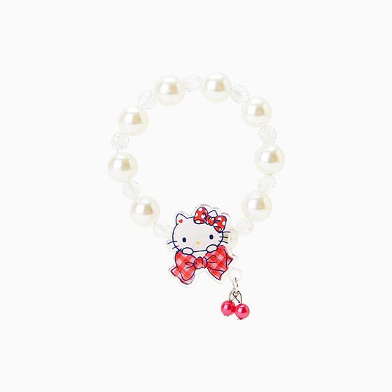 【真愛日本】15042900049 串珠手環-壓克力珍珠白 三麗鷗 Hello Kitty 凱蒂貓 手飾 飾品 正品 限量