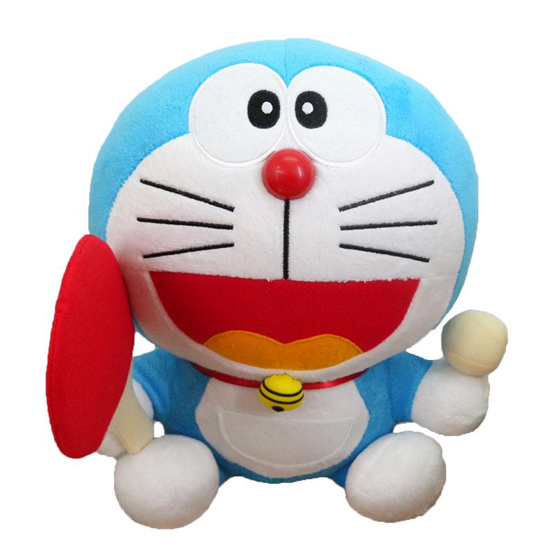 【真愛日本】1506010000225CM坐娃-拿乒乓球拍 Doraemon 哆啦A夢 小叮噹 娃娃 玩偶 正品 限量