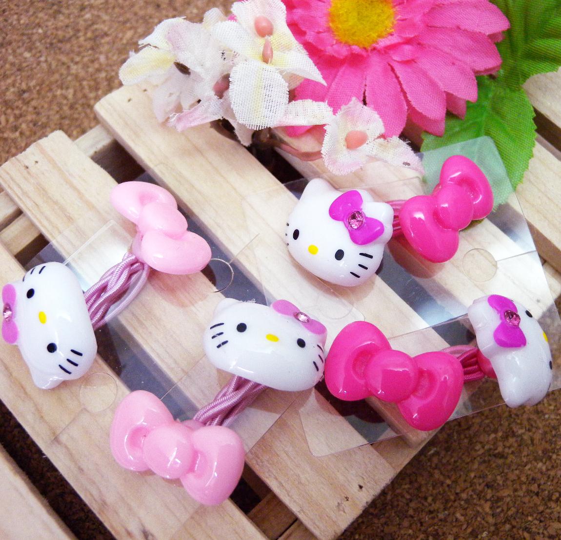 【真愛日本】15060300016 二入髮束-大臉&蝴蝶結2色 三麗鷗 Hello Kitty 凱蒂貓 髮飾 飾品 正品 限量 預購