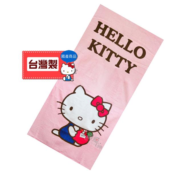 【真愛日本】 12021800019 KT藍衣抱紅蘋果大浴巾 三麗鷗 Hello Kitty 凱蒂貓 海灘巾大毛巾台灣製