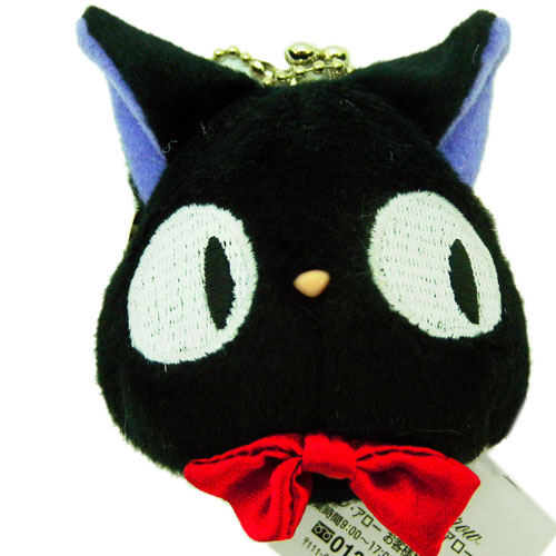 <宮崎駿會館>12022200066 珠扣絨毛頭型零錢包S-奇奇 魔女宅急便 黑貓奇奇貓 吊飾 日本正品