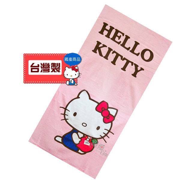 <KT生活館> 112022900005 小浴巾-藍衣抱紅蘋果 Hello Kitty 凱蒂貓海 灘巾大毛巾台灣